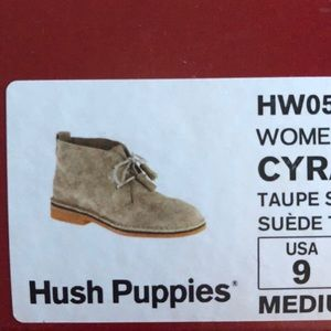 NWT and box Hush Puppies 🐶 size 9 Taupe suede